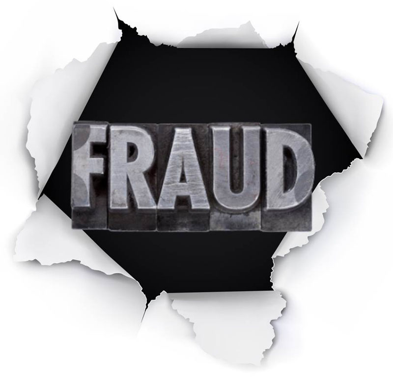 fraud An example of fraud is when a person promises you that you can make a lot of money by investing with him, but then just takes your money and disappears.